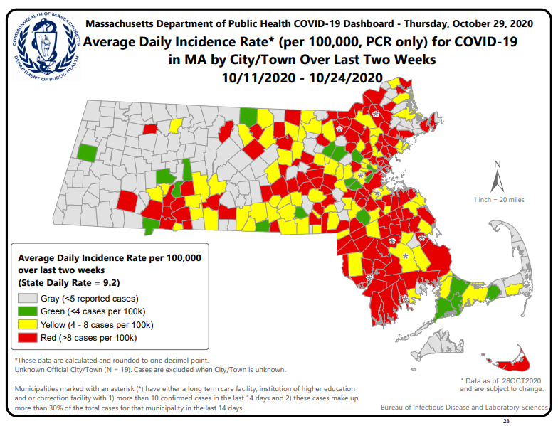 Sept 9, Sept 16, & Oct 29 Risk Maps: Average Daily Incidence Rate for COVID-19 in MA